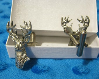 Set of White Tailed Deer Cufflinks Fine Pewter Gift Boxed Best Quality