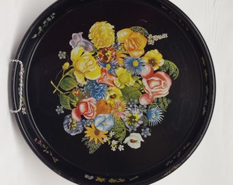 Vintage Black Metal Round Tray with Floral Pattern