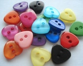 13mm Resin Heart Shape Buttons Mixed Colours Pack of 25 Heart Shape Buttons H14