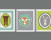Woodland Nursery-Modern Bear, Rabbit Fox Boy Nursery Wall Art Printables-Set of Three