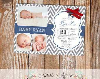 Gray and Navy Red Airplane New Baby Birth Announcement - Airplane Baby announcement card with 3 photos