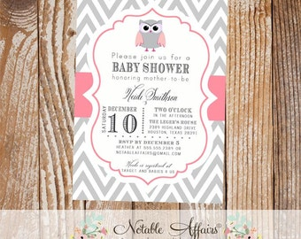 Gray Chevron and Pink Baby Owl Baby Shower or Birthday Invitation - choose your wording and colors