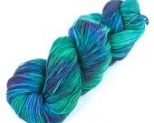 Rockshelter Sock: 099 Bequeathed Treasure - 100% Superwash Merino Handpainted Fingering Weight Yarn - blue turquoise mauve lime leaf green