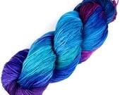 Rockshelter Sock: 005 Decadence - 100% Superwash Merino Handpainted Fingering Weight Yarn - midnight blue indigo turquoise teal violet azure