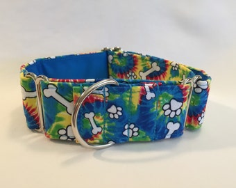 "1.5"" Paws/Bones on Tie Dye Martingale Collar"