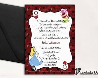 Tea Cup-Deck Card Alice in Wonderland Birthday Invitation- Design Fee