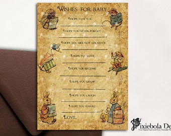 Vintage Peter Rabbit Wishes For Baby Cards- Baby Shower