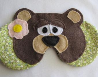 Girl Teddy Bear Sleep Mask, Girl Bear Sleeping Mask, Bear Face Eye Mask