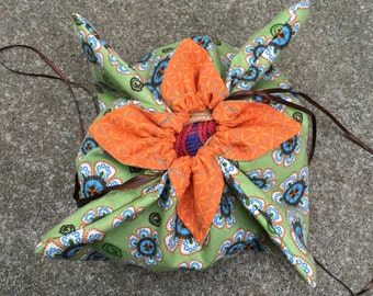 Flower Style Knitting or Crochet Project Bag - sock size