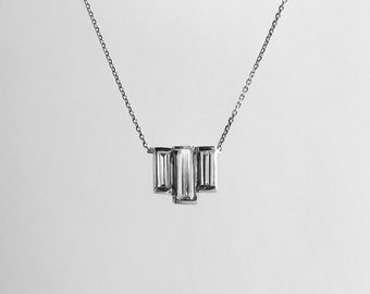 Unique 14k Gold Three Diamond Baguette Necklace
