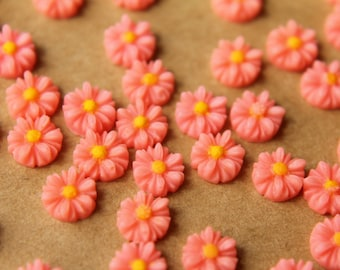 20 pc. Pink Two-Tone Daisy Flower Cabochons 8mm | RES-495