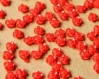 SALE - 40 pc. Tiny Red Flower Cabochons 6mm   RES-521