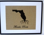 75% OFF SALE State Pride Burlap Print | Family Established Sign | State Art  | Florida Roots | Rustic Home Decoration