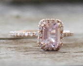 Emerald Cut Light Champagne Pink Sapphire Diamond  Halo Ring in 14K Rose Gold