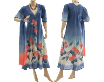 Artistic hand dyed boho maxi dress with scarf, crinkle cotton in blue coral red / art to wear for small or medium sized women, US size 8-12