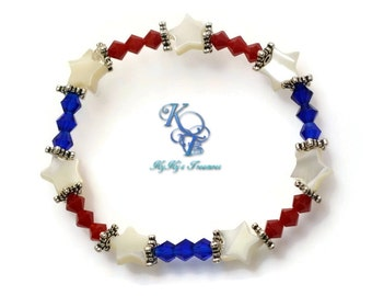 Patriotic Bracelet, Fourth of July Bracelet, July 4th Jewelry, Red White and Blue Bracelet, Patriotic Jewelry, Fourth of July Jewelry