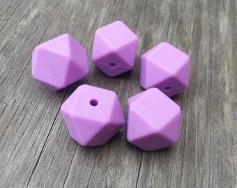 Set of 5 Lavender Hexagon Silicone Beads 17mm - Food Grade & BPA Free Teething Beads