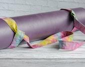 Rainbow Batik Adjustable Yoga Mat Strap Print Sling Carrier - Cotton Yellow Green Pink Orange Boho Batik Print Adjustable Yoga Mat Sling