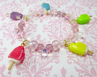 Popsicle Charm Bracelet Kawaii lolita accessory mini food charm bead jewelry