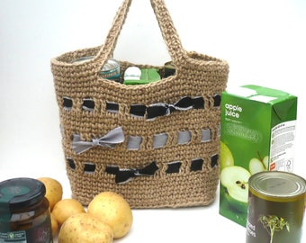 Strong Shopping Bag. Crocheted Jute Tote: black and grey bands and bows.   Made in England.