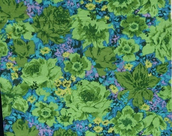 Vintage Green Turquoise Blue Floral Flower Cotton Fabric, Interior Decorating Pillow Curtain Drapery Tote 1 1/4 yard