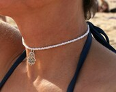 pure white choker necklace boho beach surfer summer jewellery with or without Hand of Hamsa