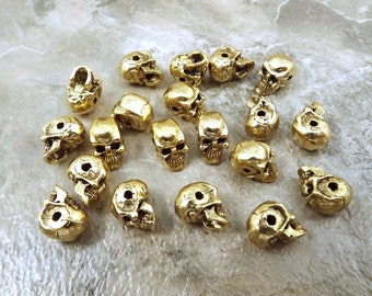 20 Gold Tone Pewter 5.5mm Skull Beads with a Horizontal Hole- 5064