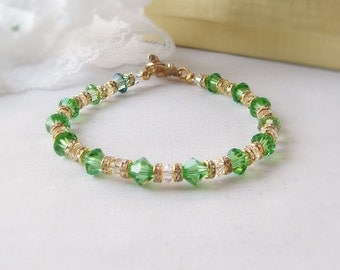 FREE SHIPPING, Green and Gold Sworovski Bicone Crystal Bracelet