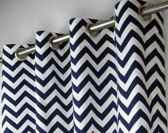 Navy Blue White Chevron Zig Zag Geometric Curtains - Grommet - 84 96 108 or 120 Long by 24 or 50 Wide - Optional Blackout or Cotton Lining