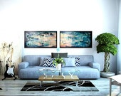 """Paintings set, Wall art, abstract painting, 16x64"""" Abstract Oil Painting, Canvas / Ready To Hang - Deserted I&II"""