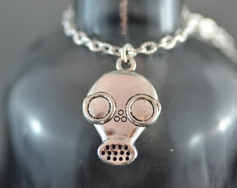 Gas Mask Necklace, Bio Attack, Apocalypse, Goth, Gothic, End of the World, Halloween