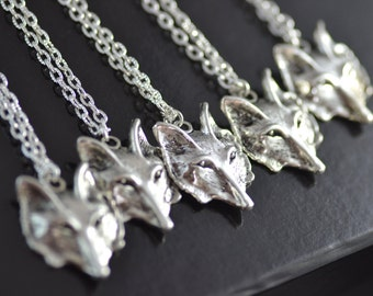 Five Wolf Face Necklaces, Best Friends, Pack, Family