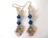 CLEARANCE- Silver Seashell Dangle Earrings, Blue Crystals, Silver and Blue Jewelry, Ocean Inspired Jewelry, Ocean Lover Gifts