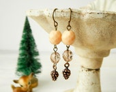Pine cone dangle earrings / pine cone earrings / fall jewelry / pine cone charms