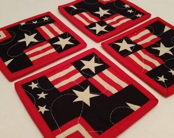 Modern Patriotic Coasters Set of 4 Americana Home Decor Stars and Stripes Barware Red White Blue Memorial Day 4th of July Labor Day USA