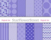 Purple Blue Digital Paper Patterns polka dot chevron flowers stripes Scrapbook Card Making photography printable instant download