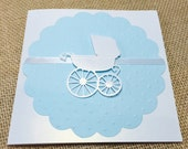 Rush Order, 30 Baby Carriage Baby Shower Invitation, Thank You, or New Baby Announcement Cards, Baby Boy Blue (Customize Any Color)