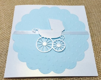 10 Baby Carriage Baby Shower Invitation, Thank You, or New Baby Announcement Cards, Baby Boy Blue (Customize Any Color)