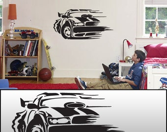 "Race Car Wall Decal Sticker Removable White or Black 46""x23"""
