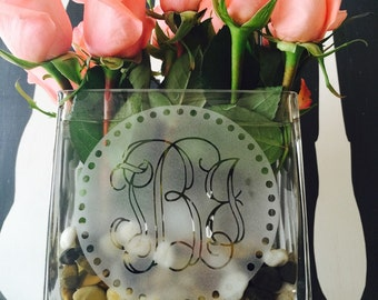 Glass Etched Monogram Vase