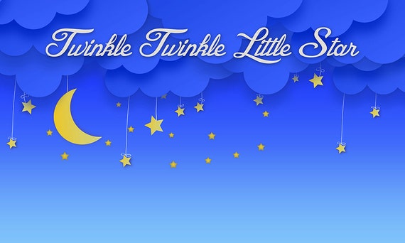 Twinkle little star themed party backdrop instant