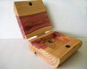 Handcrafted Cedar Jewelry Box Natural Wood Log Jewellery Holder With Brass Hinge and Magetic Clasp