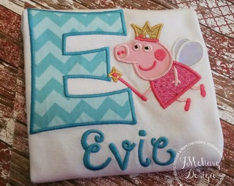 Fairy Princess Peppa Pig Birthday Custom Tee Shirt - Customizable -  Infant to Youth 209
