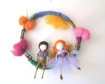 Baby Mobile,Nursery Mobile,Waldorf Mobile,Needle Felt,Nursery Decor,Children Mobile,Twins Baby Gifts,Fairies and Pixies