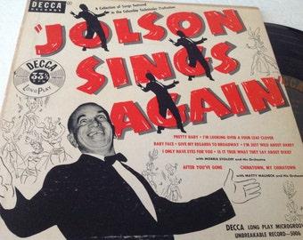 "Jolson Sings Again - 10"" LP collectible vinyl ( Decca Records ) Al Jolson"