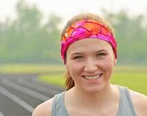 Spandex headband, sweat band, crossfit headband, non slip, running headband, pink/orange, volleyball, basketball