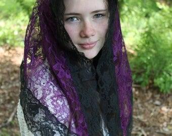 Chapel Veil / Ladies Mantilla / Catholic Headcovering / Prayer Veil / Church Veil / Queen of Angels Veil.