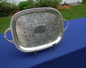 Vintage Silver Plate Handled Serving Tray
