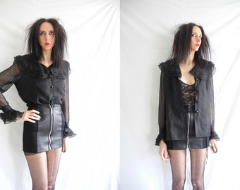 Goth 90's black sheer blouse/shirt with layered frill cuffs and collar.