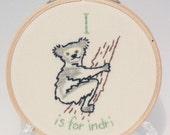 I is for Indri alphabet hoop art Embroidery Nursery Art Baby's Room Animals Monkey Lemur Cute